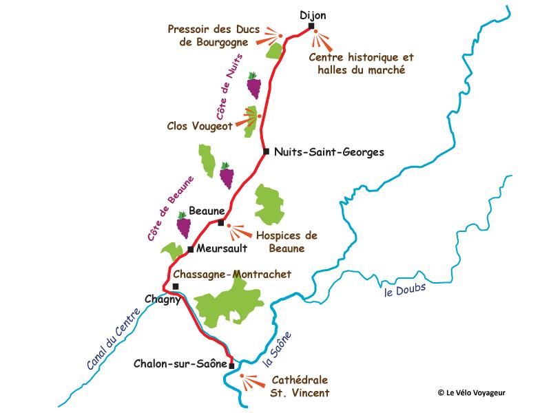 Carte De Bourgogne Route Des Vins.Week End En Bourgogne La Route Des Vins A Velo Itineraire