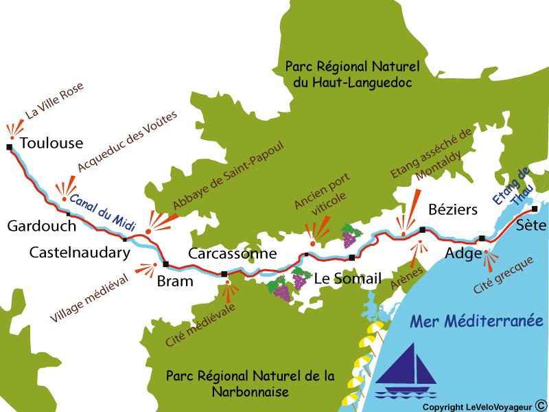 Itinéraire du canal du midi