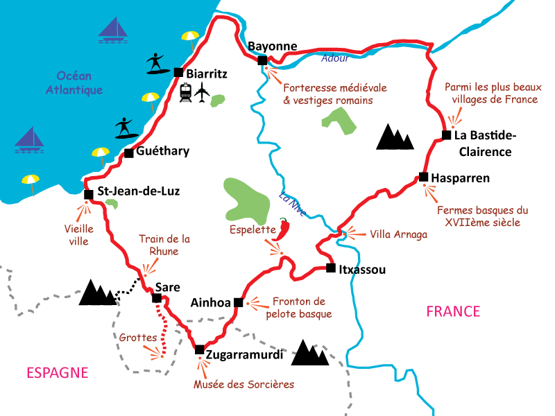 Basque country cycle tour in 4 days inland detour and coast I Le