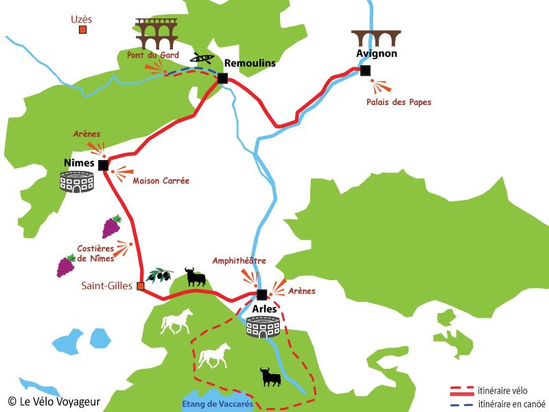 Plan de parcours en vélo en provence